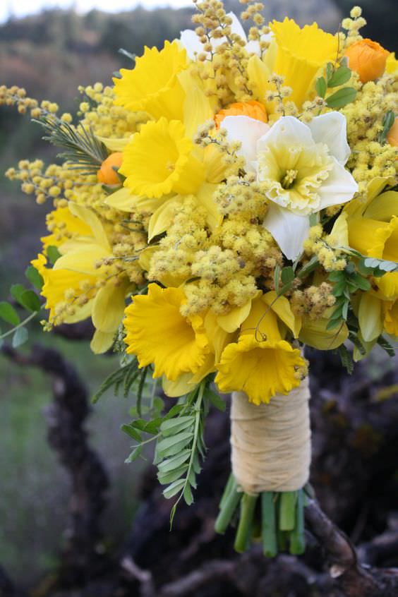 Sarı Kır Çiçeklerinden Gelin Buketi