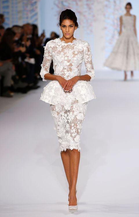 Ralph & Russo Peplum Bel Detaylı Çiçek İşlemeli Elbise