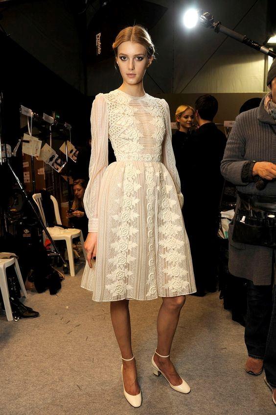 Valentino Dantel İşlemeli Uzun Kollu Elbise