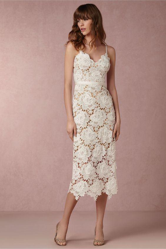 BHLDN İnce Askılı Güpur Midi Elbise
