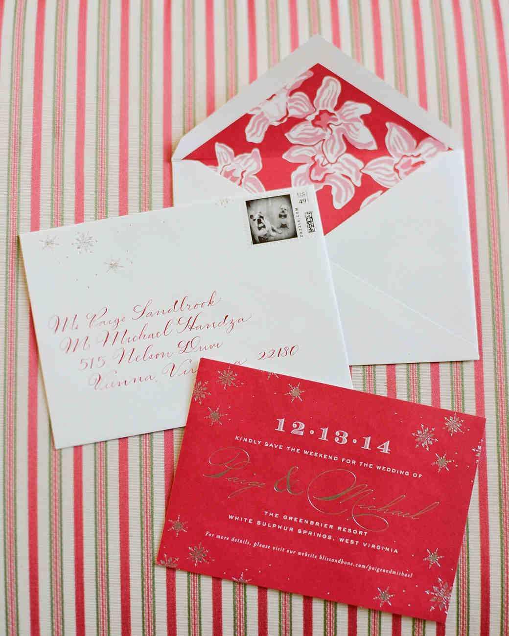 Yeni Yıl Temalı Kırmızı & Yaldızlı Düğün Davetiyesi