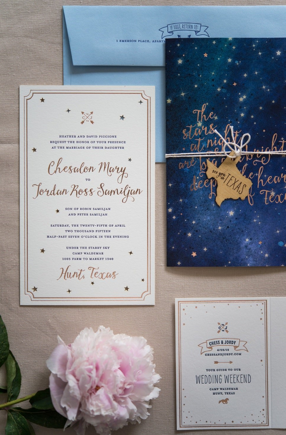 Gece & Yıldız Temalı Düğün Davetiyesi