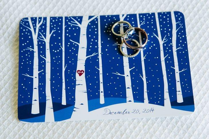 Kar Temalı Romantik Kış Düğünü Davetiyesi