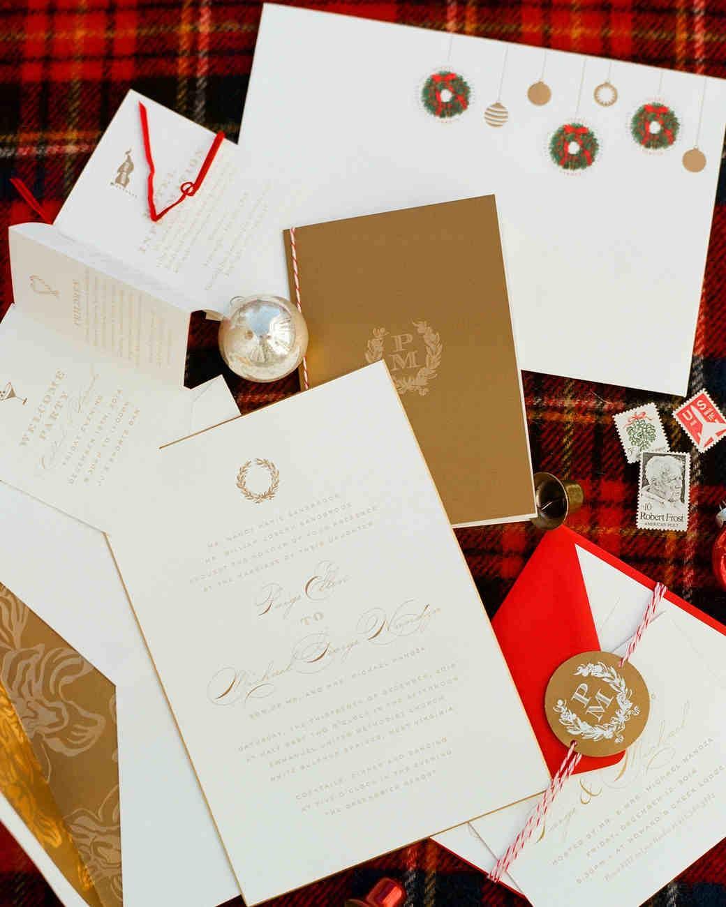 Altın Rengi & Kırmızı Yeni Yıl Temalı Düğün Davetiyesi