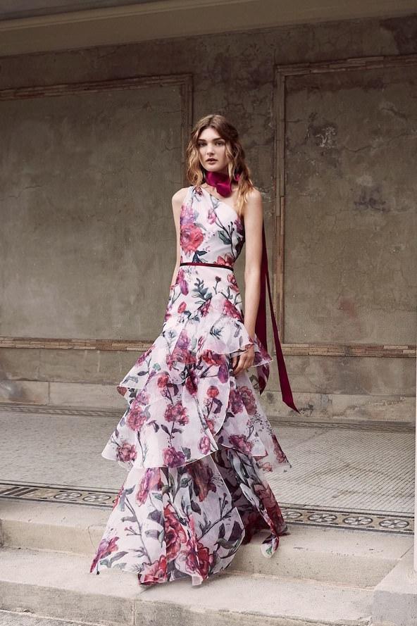 Marchesa Notte Kırmızı Çiçek Desenli Uzun Elbise