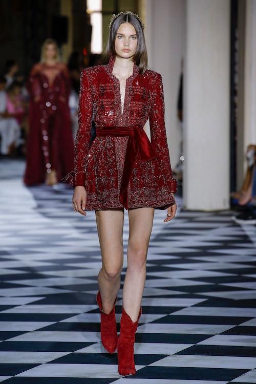 Zuhair Murad Bordo Kadife Mini Elbise