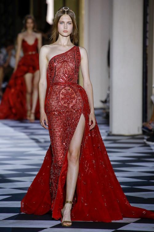 Zuhair Murad Kırmızı Tek Omuzlu Yırtmaçlı Elbise