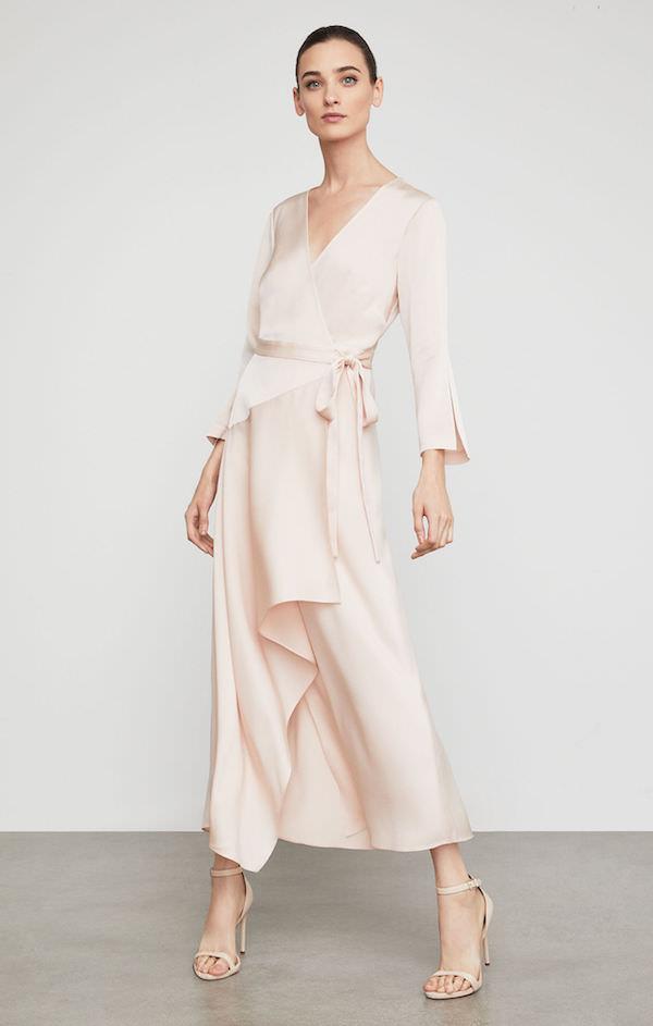 BCBG Pudra Pembesi Saten Uzun Kollu Elbise