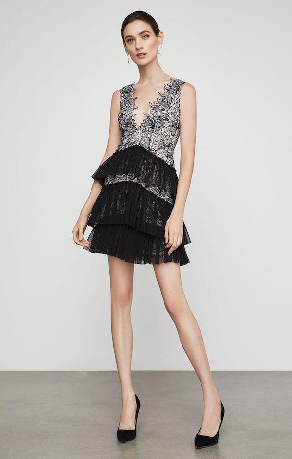 BCBG Dantel ve Tül Mini Elbise