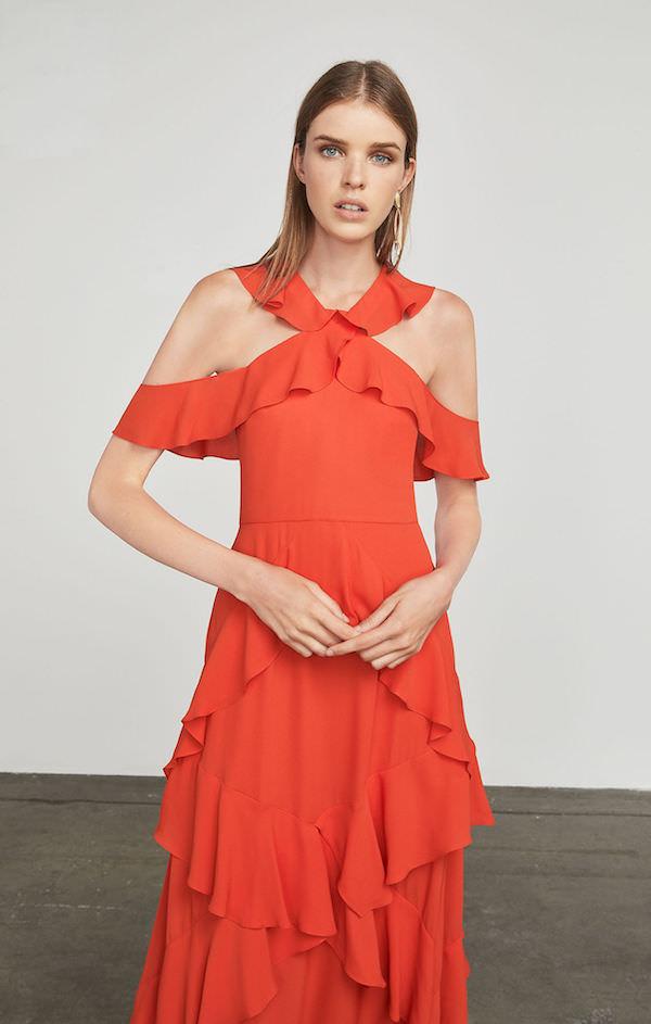 BCBG Fırfır Detaylı Açık Kırmızı Uzun Elbise