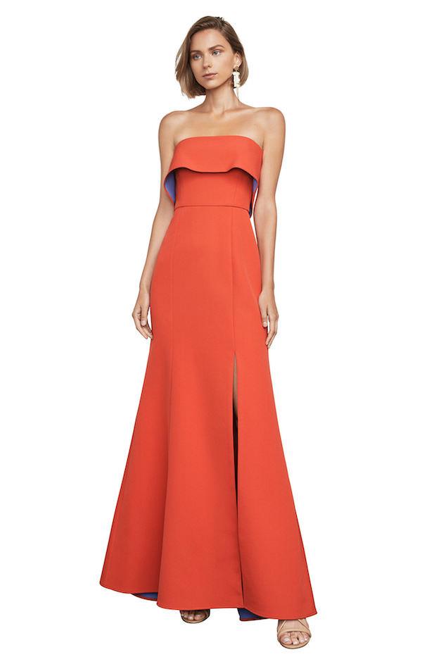 BCBG Turuncu Straplez Yırtmaçlı Elbise
