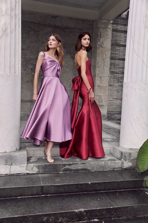 Marchesa Notte Saten Lila ve Bordo Elbiseler