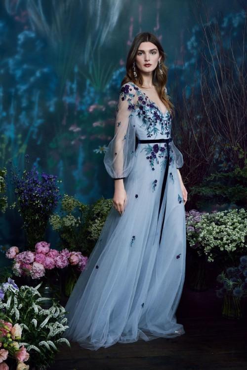 Marchesa Notte Çiçek İşlemeli Uzun Kollu Mavi Elbise