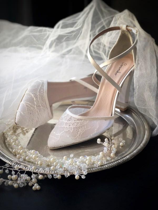 Sanemiko Tül Dantel Detaylı Stiletto Gelin Ayakkabısı