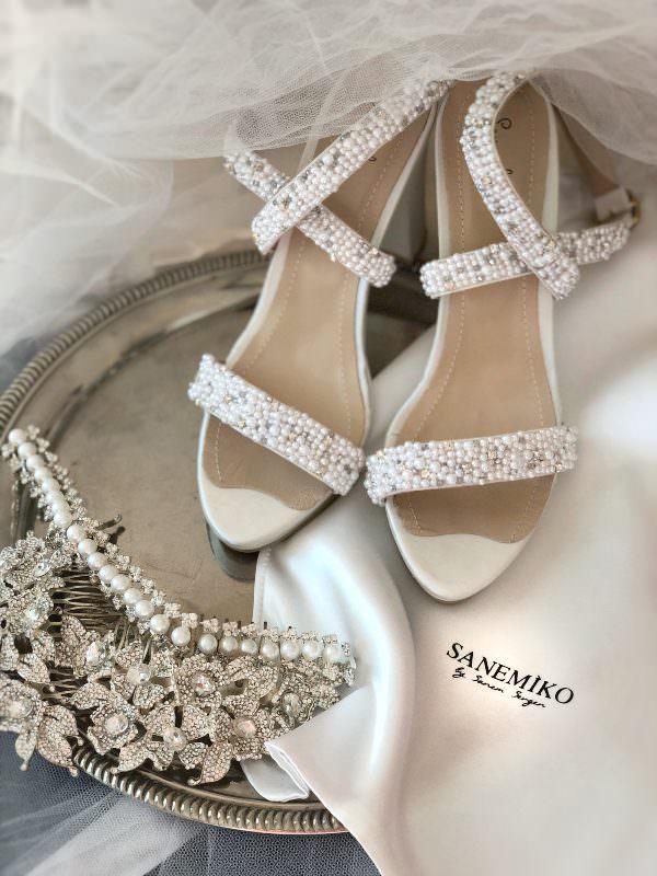 Sanemiko İnce Bantlı Topuklu Sandalet Gelin Ayakkabısı