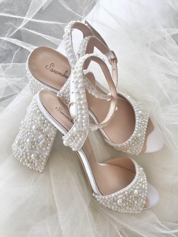 Sanemiko İnci İşlemeli & Kalın Topuklu Gelin Ayakkabısı