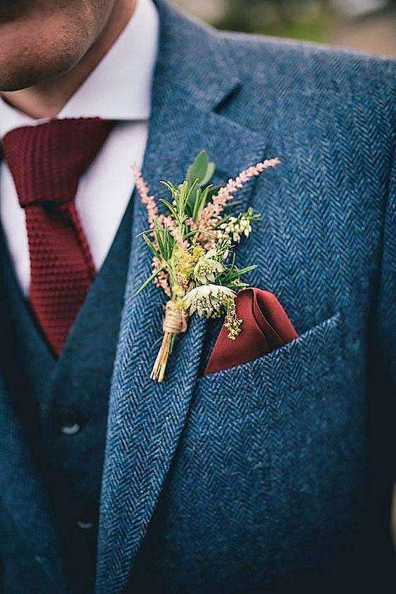 Rustik Tarzda Damat Yaka Çiçeği