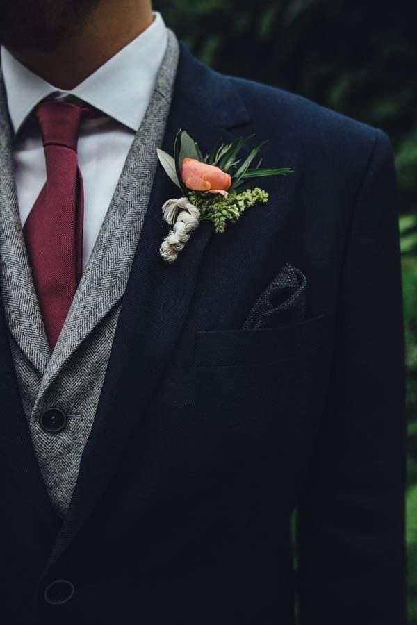 Bordo Kravat & Gri Yelek Detaylı Lacivert Kaşe Takım Elbise Damatlık