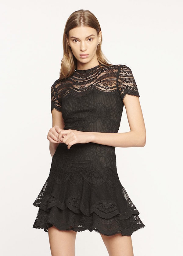 Jonathan Simkhai Siyah Kısa Kollu Mini Elbise