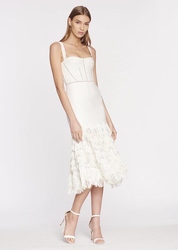 Jonathan Simkhai Beyaz Diz Altı Püsküllü Elbise