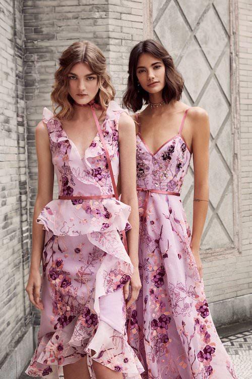 Marchesa Notte Çiçek İşlemeli Pembe Elbiseler