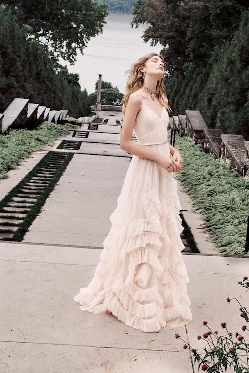 Marchesa Notte Fırfır Detaylı Bej Elbise