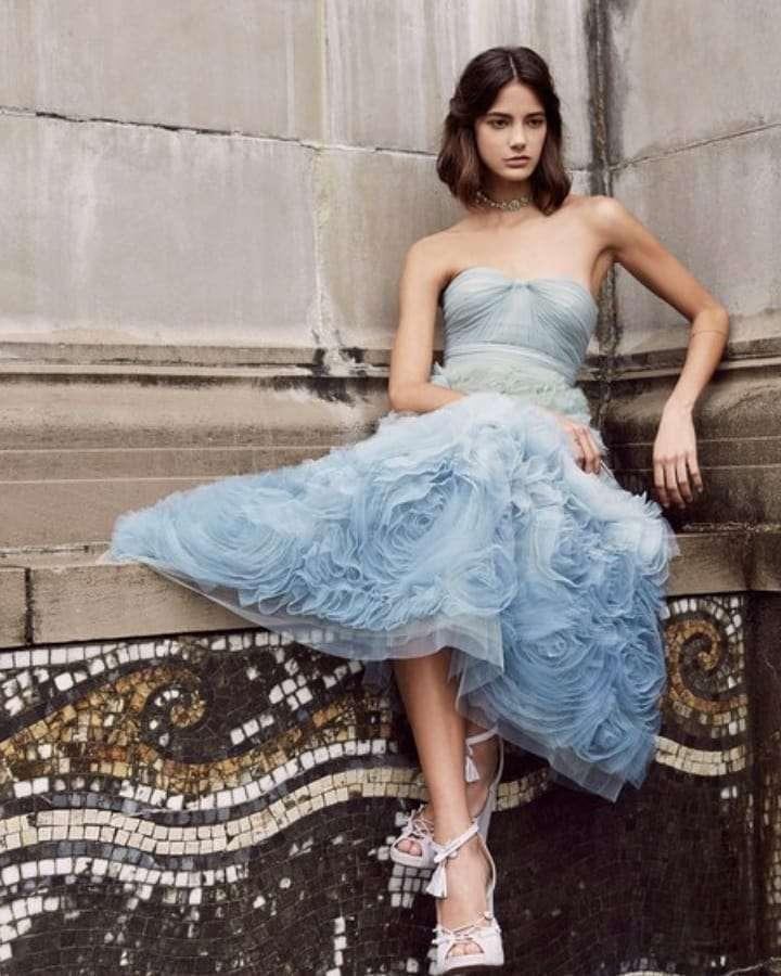 Marchesa Notte Mavi Tül Midi Elbise