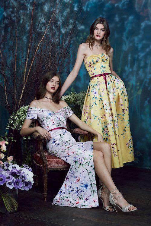 Marchesa Notte Çiçek Desenli Saten Elbiseler