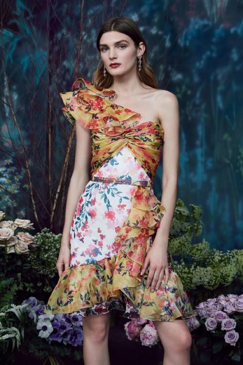 Marchesa Notte Çok Renkli Fırfırlı Mini Elbise