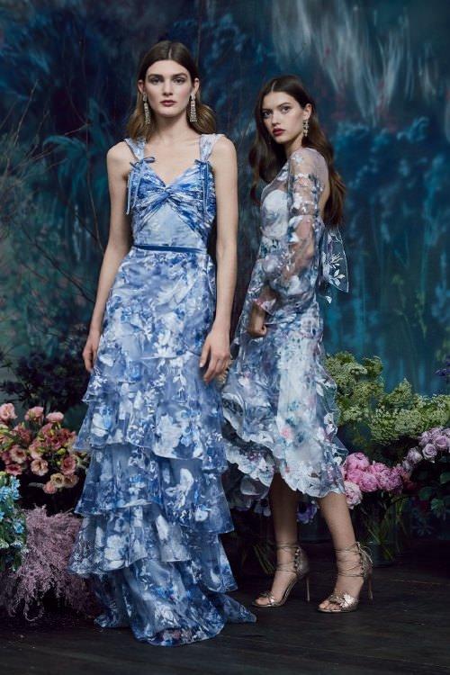 Marchesa Notte Parlak Çiçek İşlemeli Mavi Elbiseler