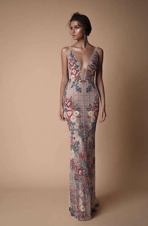 Berta Payet Çiçek İşlemeli Elbise