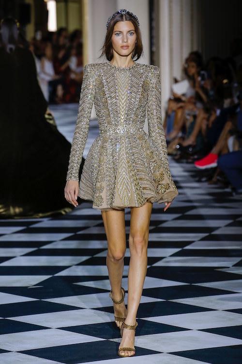 Zuhair Murad Gümüş ve Altın Detaylı Mini Elbise