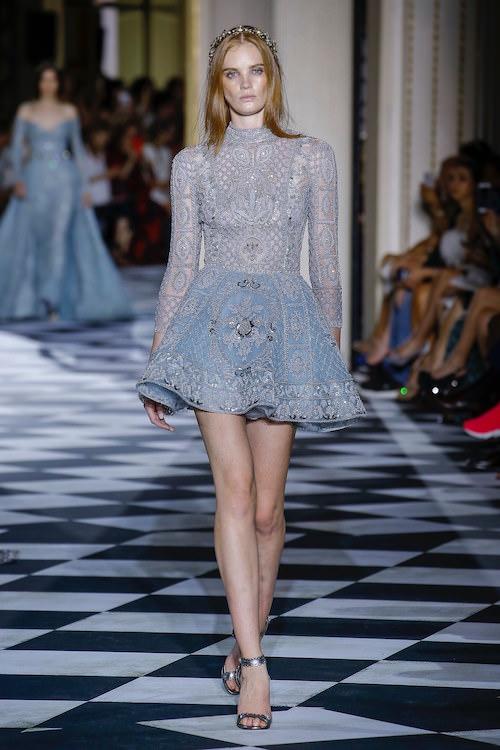 Zuhair Murad Uzun Kollu Mavi Mini Elbise