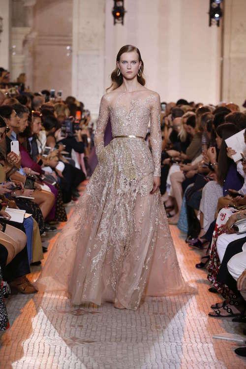Elie Saab Transparan Uzun Kollu İşlemeli Elbise