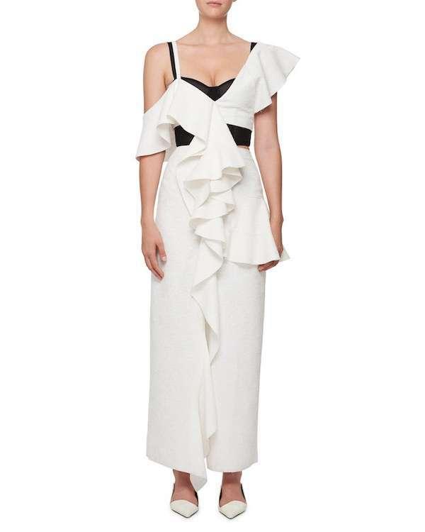Bergdorf Goodman Siyah Bustiyerli Beyaz Uzun Elbise