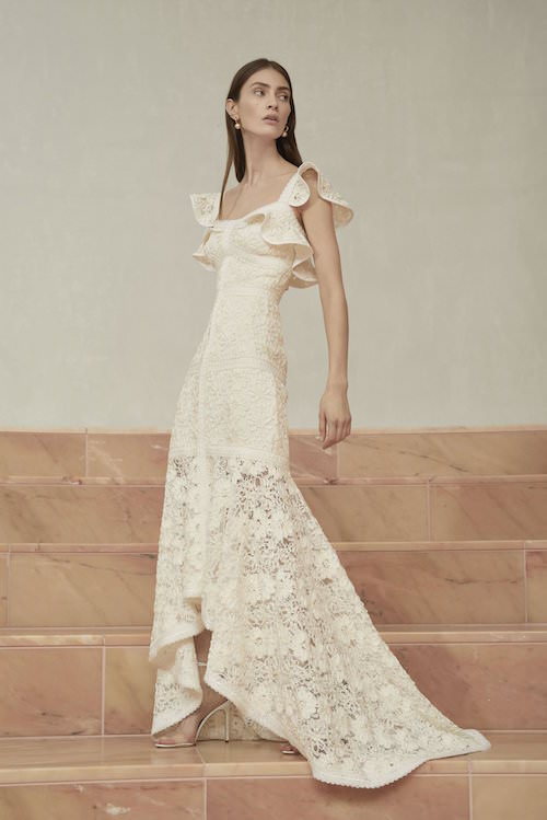 Alexis Volanlı Kol Detaylı Beyaz Güpur Elbise