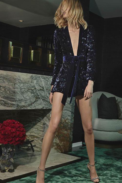 Alexis Uzun Kollu, Payetli Lacivert Mini Elbise