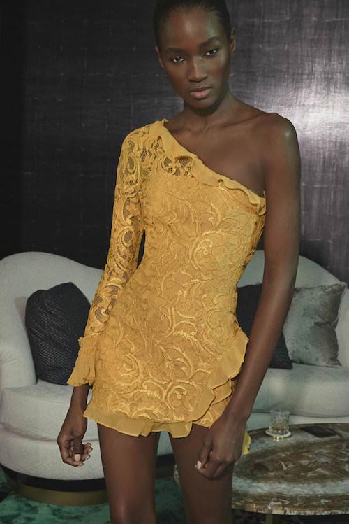 Alexis Tek Omuzlu Fırfır Detaylı Sarı Elbise