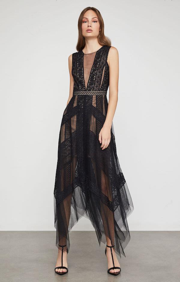 BCBG Siyah Tül Asimetrik Elbise