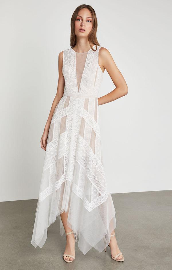 BCBG Beyaz Tül Asimetrik Elbise
