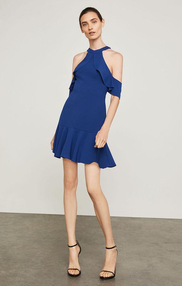 BCBG Parlament Mavisi Düşük Omuzlu Mini Elbise