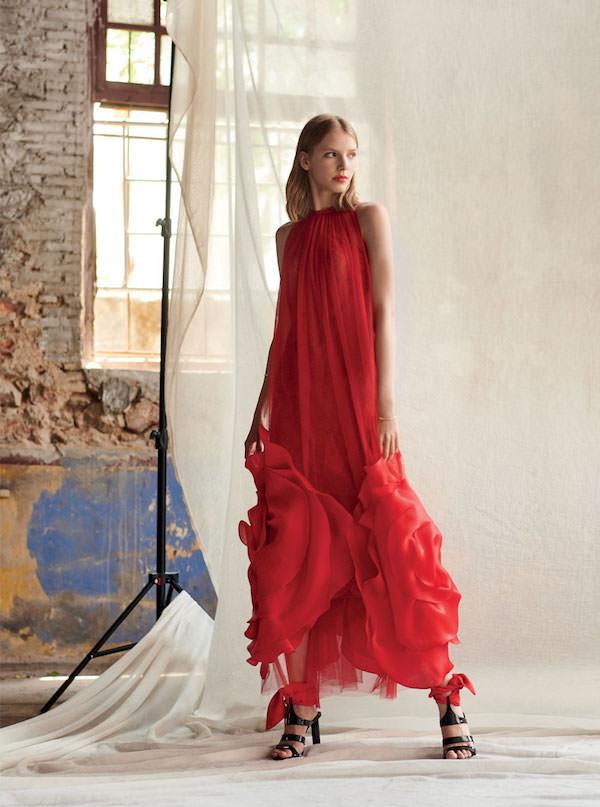 Costarellos Sıfır Yaka Uzun Kırmızı Elbise