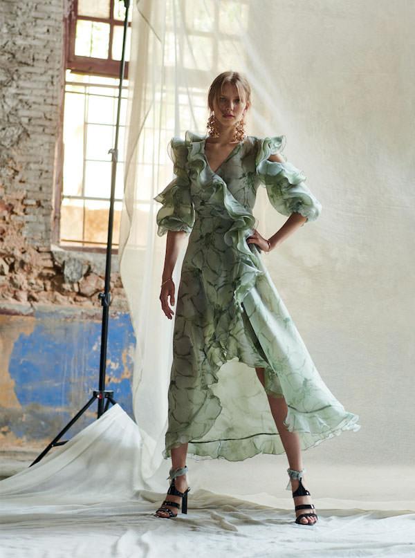 Costarellos Yeşil Volanlı Şifon Elbise