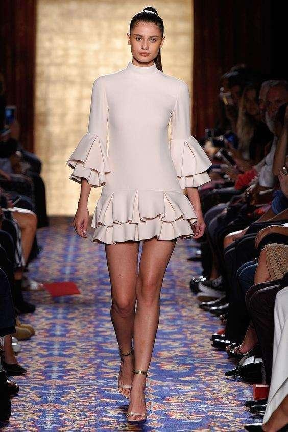 Brandon Maxwell Fırfırlı Uzun Kollu Mini Elbise