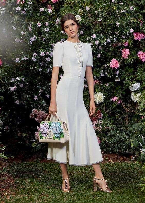 Dolce & Gabbana Düğmeli, Kısa Kollu Midi Elbise