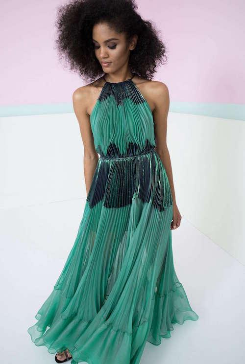 Maria Lucia Hohan Halter Yaka Uzun Yeşil Elbise