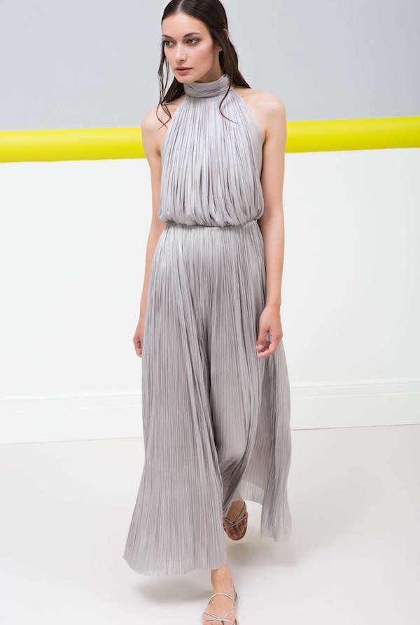 Maria Lucia Hohan Halter Yaka Metalik Tülden Uzun Elbise