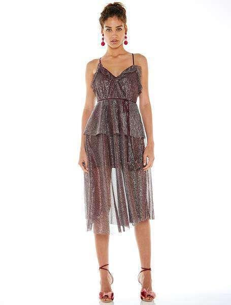 La Maison Talulah Bordo Gümüş Midi Elbise