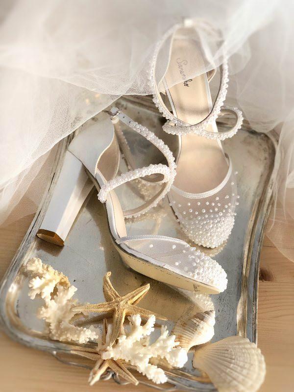 Sanemiko Transparan Yuvarlak Burunlu & Kalın Topuklu Gelin Ayakkabısı